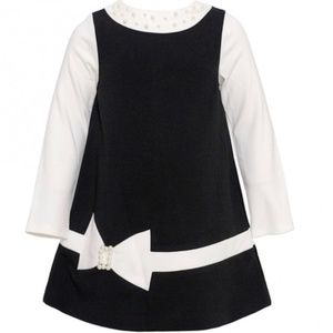 NWT Biscotti Black Ivory Pearl L/S Girls Dress 4T